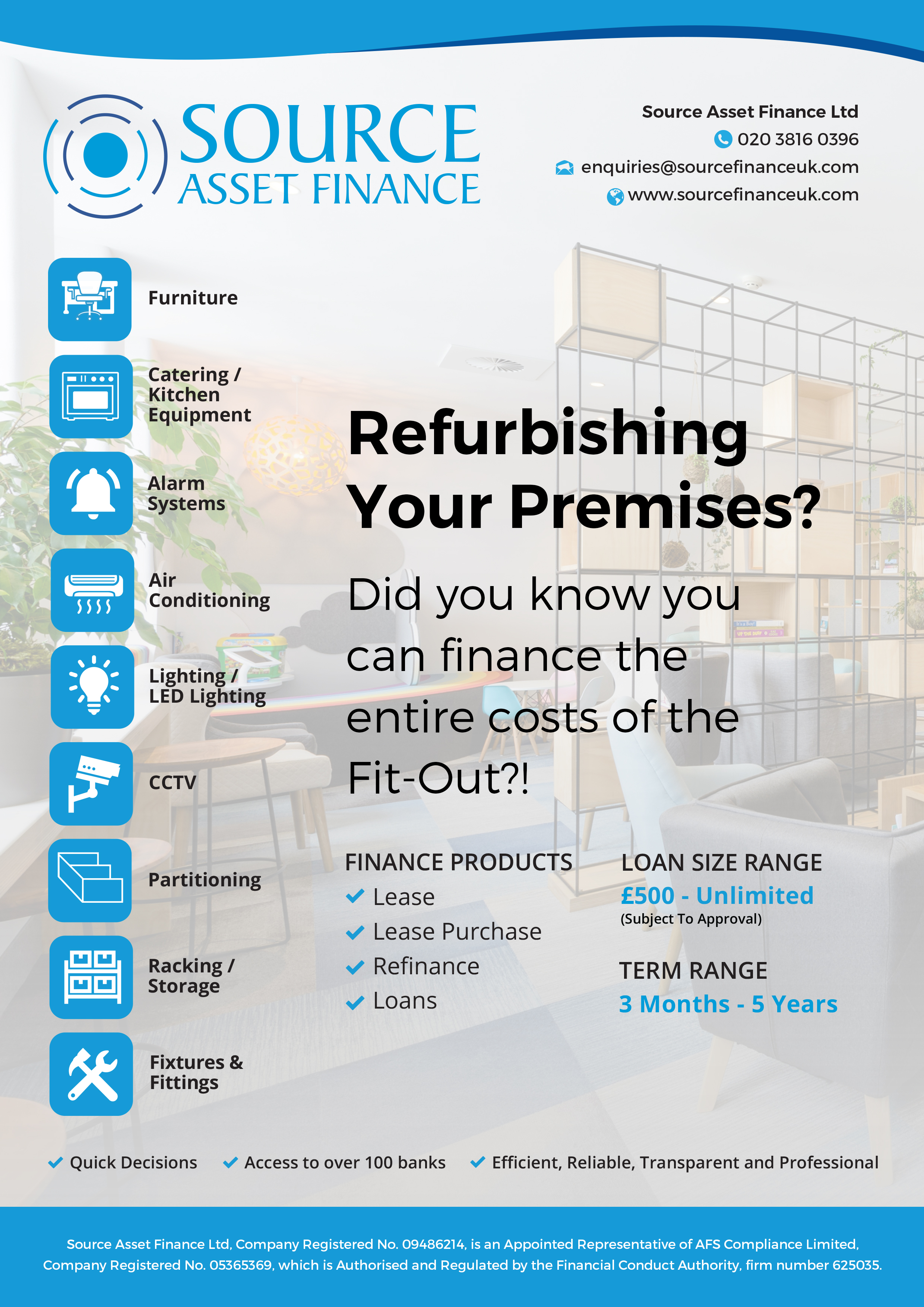 refurbishment finance fit-out lease hire purchase loan funding pub hotel restaurant office shop workshop